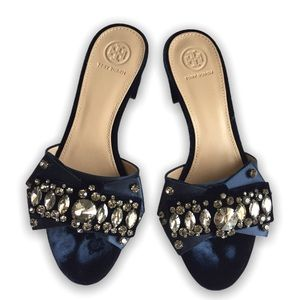 TORY BURCH Valentina Bow Slides Royal Blue